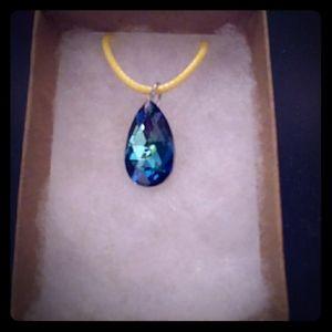 Coastline Blue Crystal Teardrop Necklace